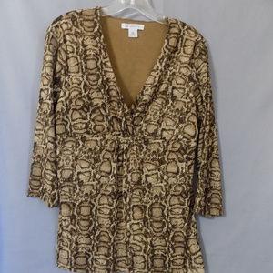 V-neck blouse with animal print design in women's